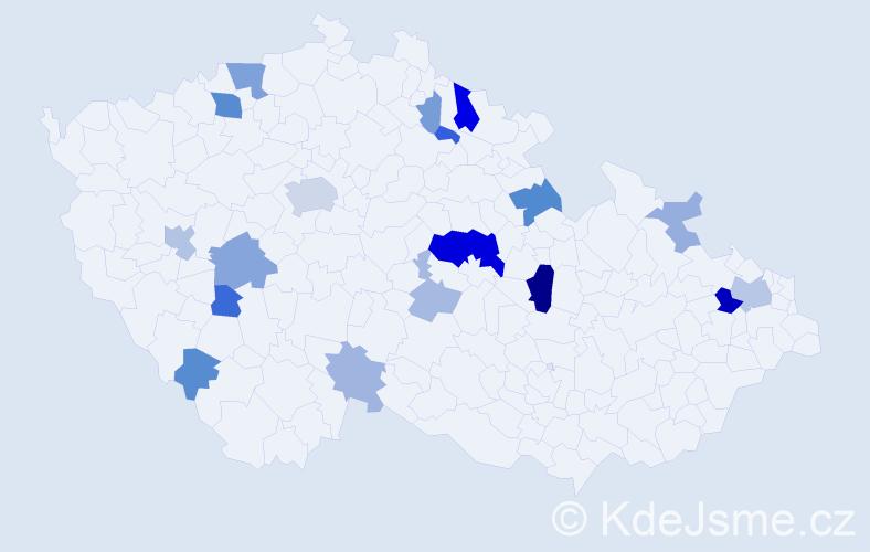 Příjmení: 'Fričková', počet výskytů 47 v celé ČR