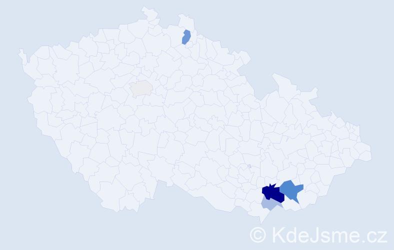 Příjmení: 'Hulcký', počet výskytů 14 v celé ČR