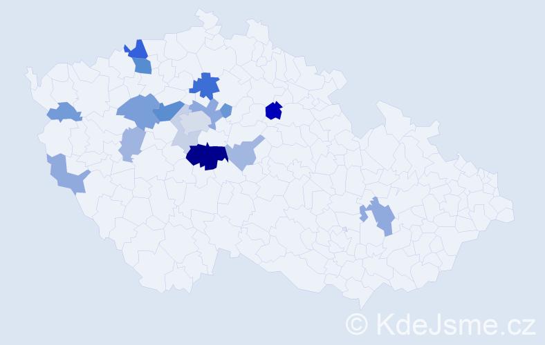 Příjmení: 'Kut', počet výskytů 41 v celé ČR