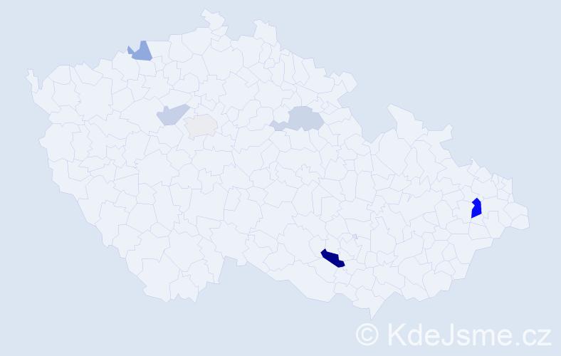 Příjmení: 'Heuerová', počet výskytů 11 v celé ČR