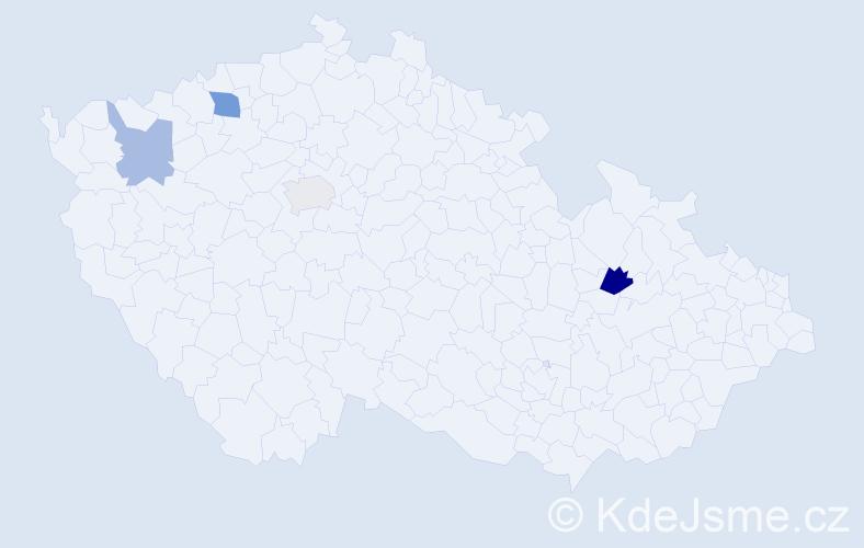 Příjmení: 'Čekel', počet výskytů 6 v celé ČR