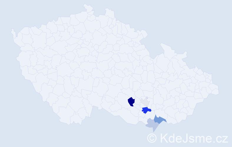 Příjmení: 'Jadámek', počet výskytů 10 v celé ČR