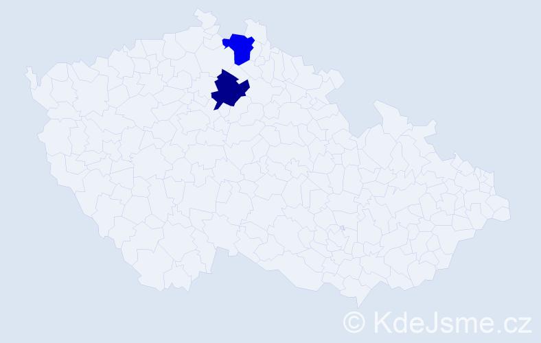 Příjmení: 'Jóžová', počet výskytů 4 v celé ČR