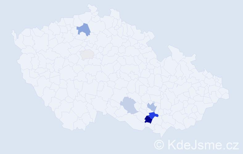 Příjmení: 'Gryndlerová', počet výskytů 15 v celé ČR