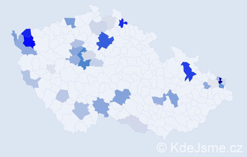 Příjmení: 'Čopáková', počet výskytů 106 v celé ČR