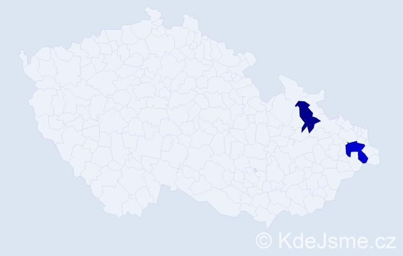 Příjmení: 'Bačgoňová', počet výskytů 3 v celé ČR