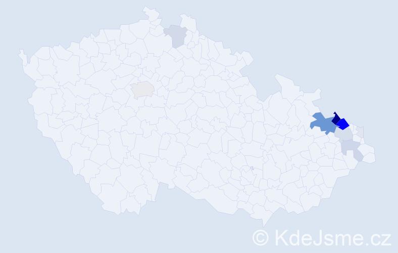Příjmení: 'Hartoš', počet výskytů 57 v celé ČR