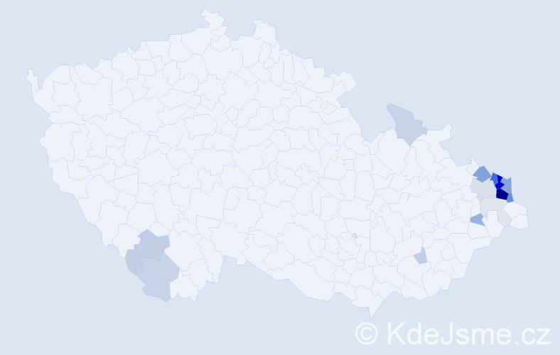 Příjmení: 'Jeziorská', počet výskytů 61 v celé ČR