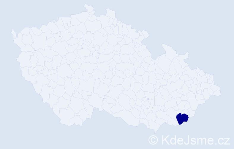 """Příjmení: '""""Bočáňová Velecká""""', počet výskytů 1 v celé ČR"""