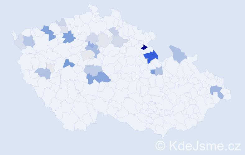Příjmení: 'Kráčmerová', počet výskytů 62 v celé ČR