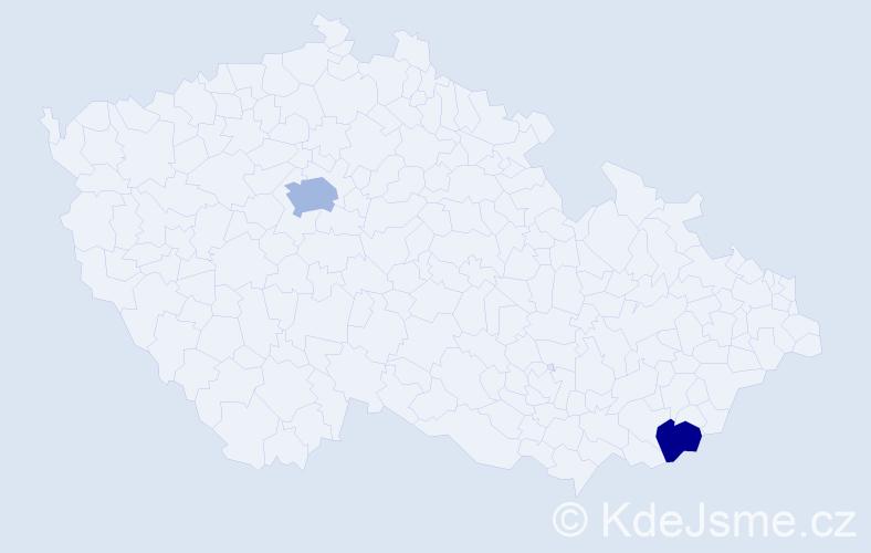 """Příjmení: '""""Ál Bannoud""""', počet výskytů 3 v celé ČR"""