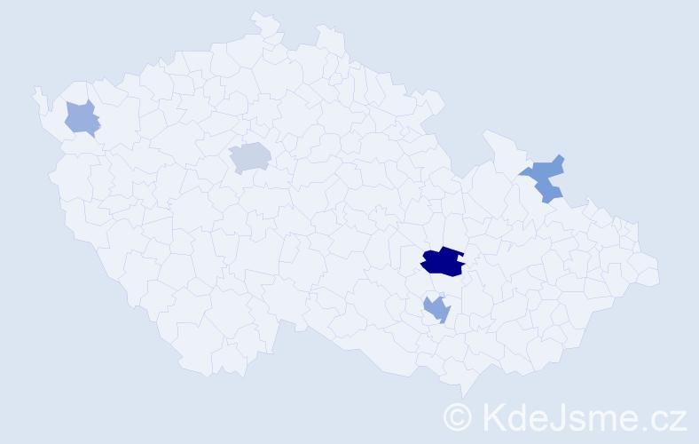 Příjmení: 'Bursák', počet výskytů 14 v celé ČR