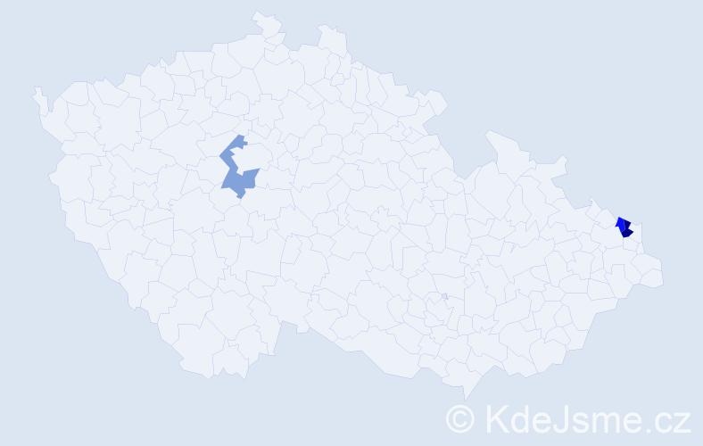 Příjmení: 'Kulfíř', počet výskytů 4 v celé ČR