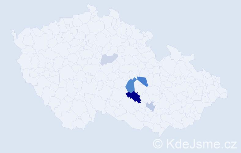 Příjmení: 'Hermany', počet výskytů 19 v celé ČR