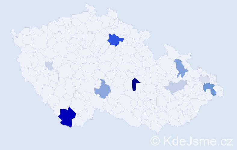 Příjmení: 'Kubická', počet výskytů 17 v celé ČR