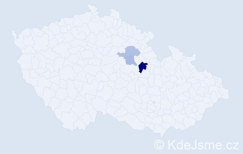 Příjmení: 'Bartheldiová', počet výskytů 13 v celé ČR