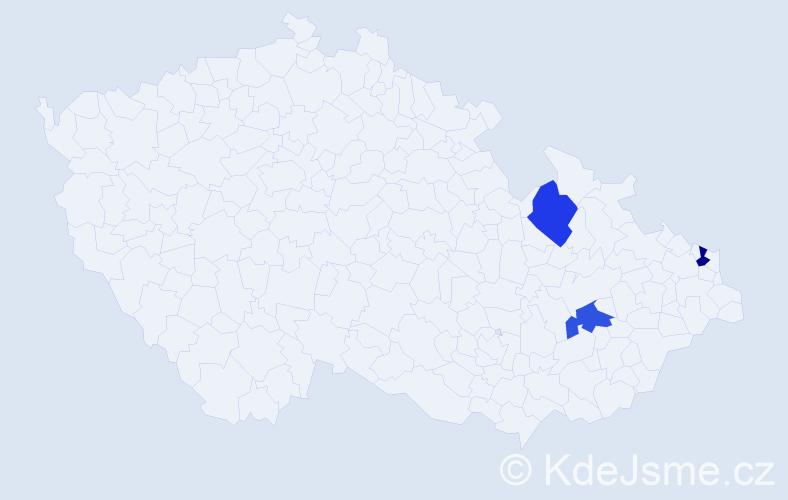 Příjmení: 'Česelková', počet výskytů 6 v celé ČR