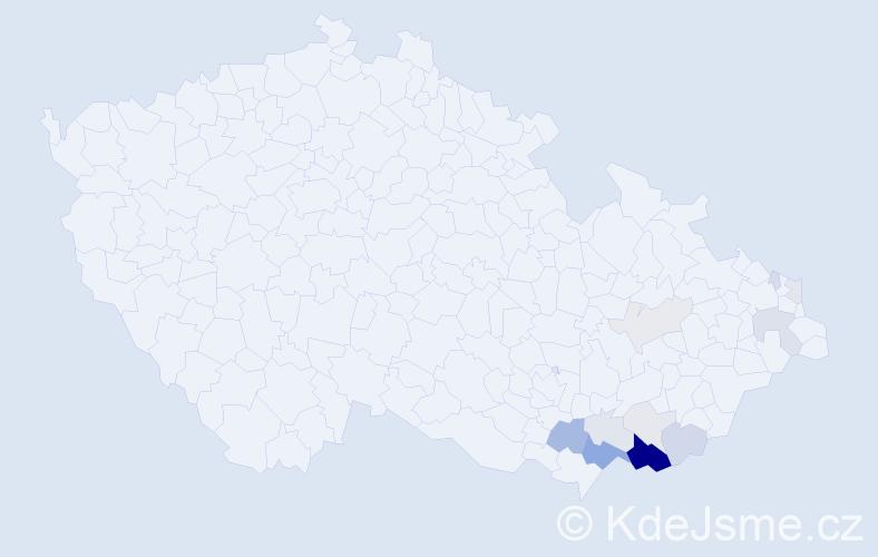 Příjmení: 'Hálka', počet výskytů 41 v celé ČR