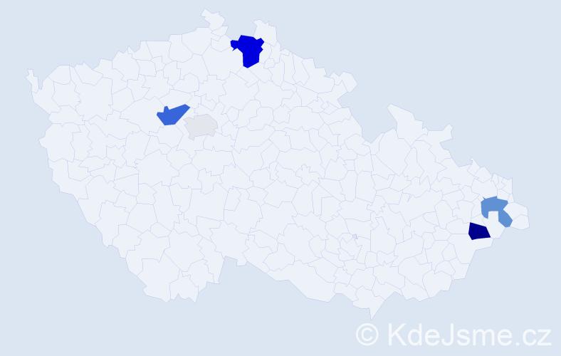 Příjmení: 'Hajfler', počet výskytů 13 v celé ČR