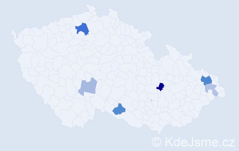 Příjmení: 'Bigoš', počet výskytů 16 v celé ČR