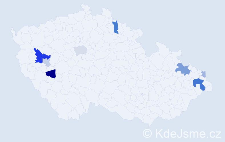 Příjmení: 'Elek', počet výskytů 16 v celé ČR