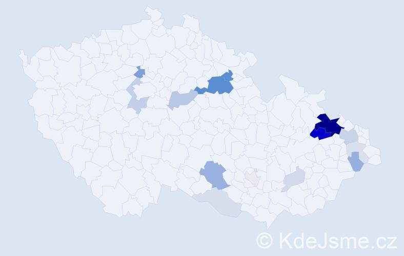 Příjmení: 'Lamichová', počet výskytů 54 v celé ČR