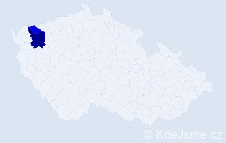 Příjmení: 'Čabráková', počet výskytů 4 v celé ČR