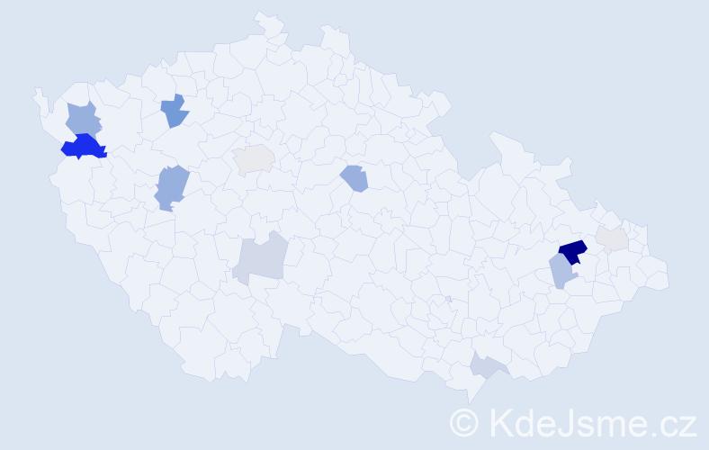 Příjmení: 'Ertelová', počet výskytů 23 v celé ČR