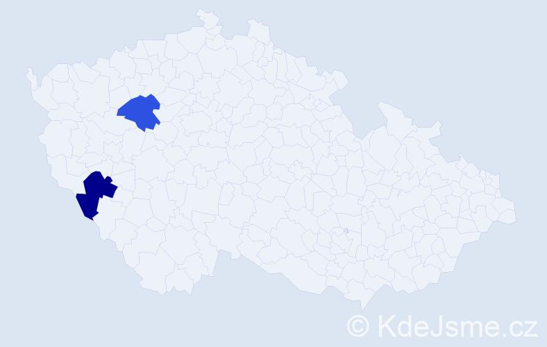 Příjmení: 'Kodyš', počet výskytů 5 v celé ČR
