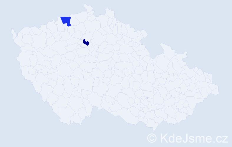 Příjmení: 'Etčerová', počet výskytů 3 v celé ČR