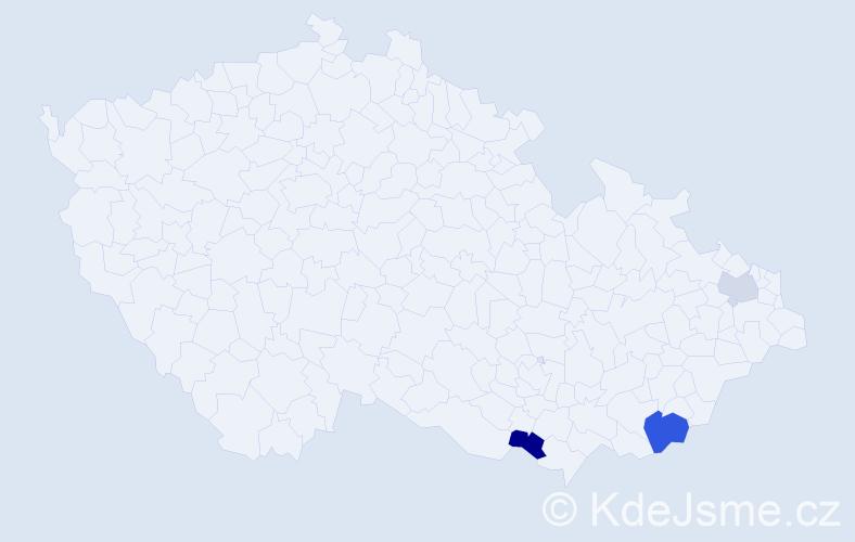 Příjmení: 'Hajdůch', počet výskytů 10 v celé ČR