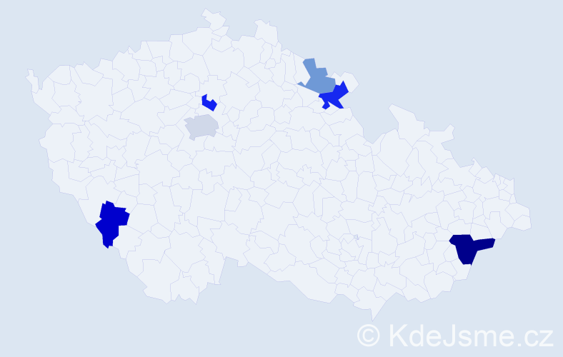 Příjmení: 'Ildžová', počet výskytů 10 v celé ČR