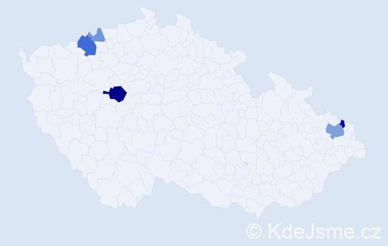 Příjmení: 'Andielová', počet výskytů 14 v celé ČR