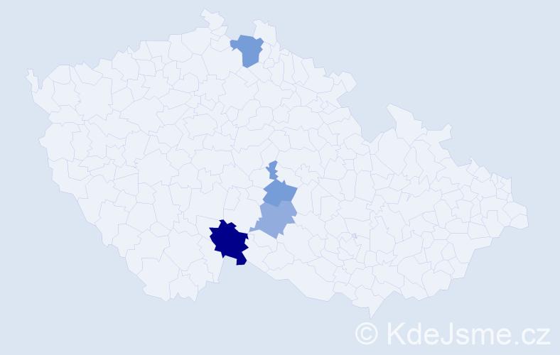 Příjmení: 'Jač', počet výskytů 7 v celé ČR