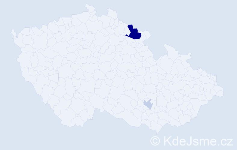 Příjmení: 'Čalovka', počet výskytů 8 v celé ČR
