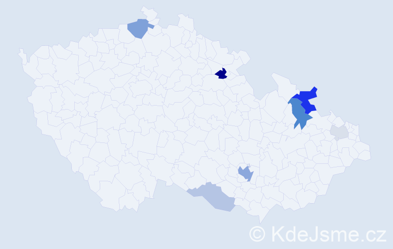 Příjmení: 'Damo', počet výskytů 16 v celé ČR