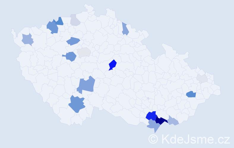 Příjmení: 'Chrenka', počet výskytů 52 v celé ČR