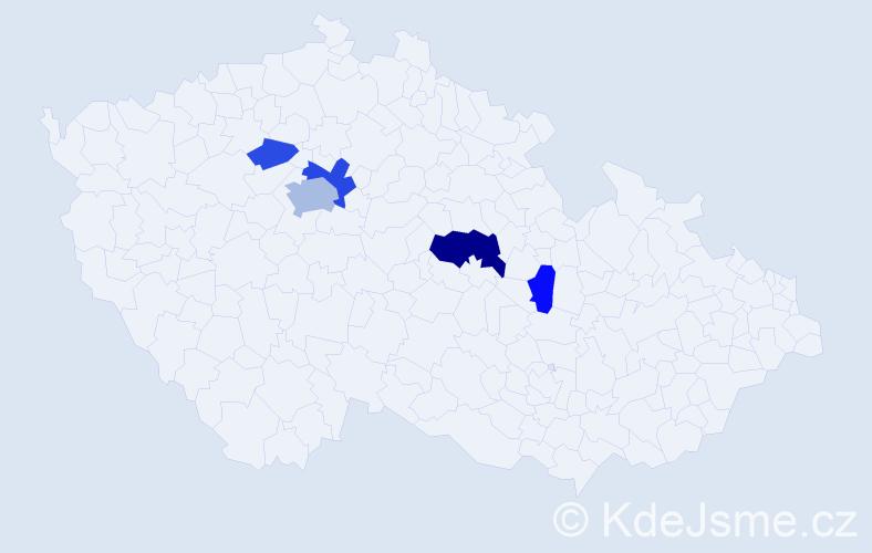 Příjmení: 'Kača', počet výskytů 11 v celé ČR