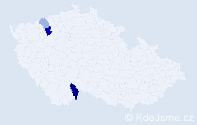 Příjmení: 'Eisert', počet výskytů 5 v celé ČR