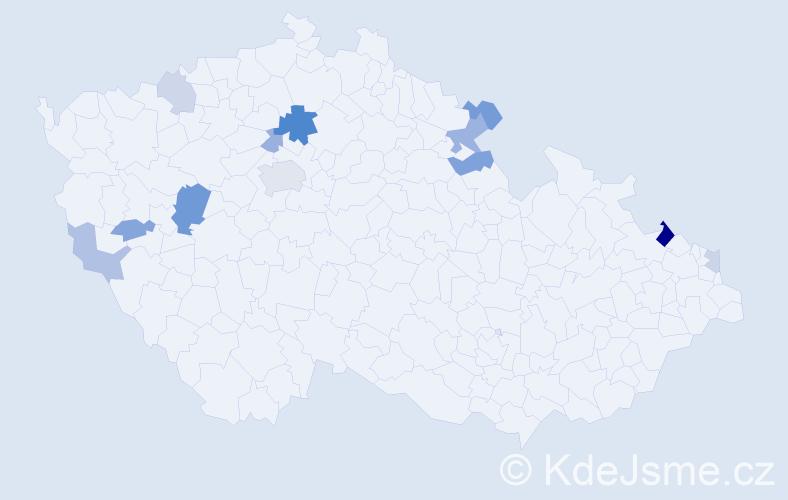 Příjmení: 'Kahler', počet výskytů 24 v celé ČR
