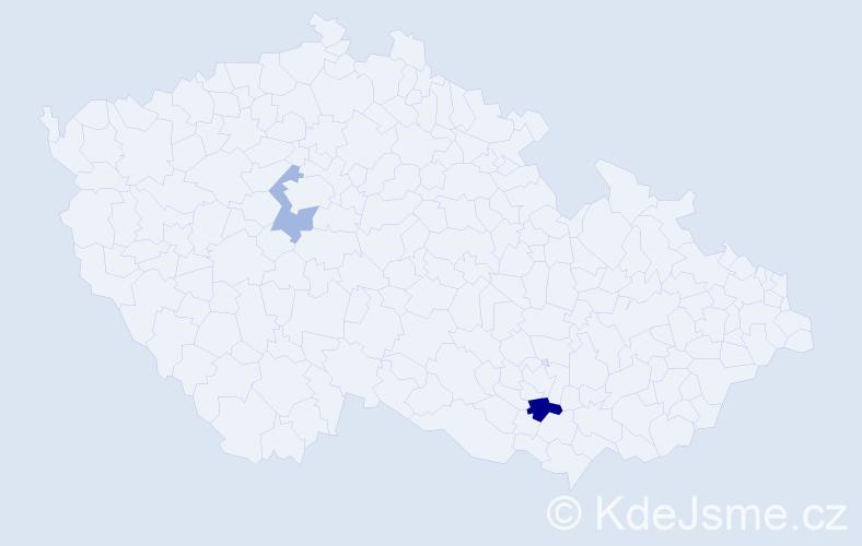 Příjmení: 'Brutenič', počet výskytů 3 v celé ČR