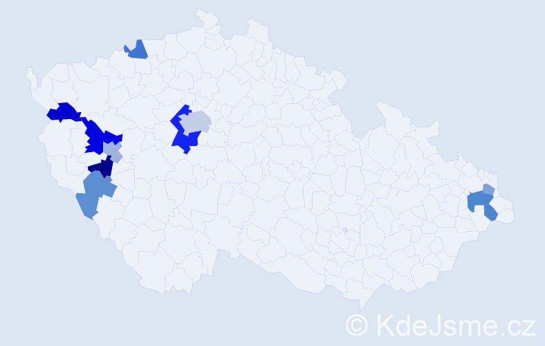 Příjmení: 'Fuseková', počet výskytů 16 v celé ČR
