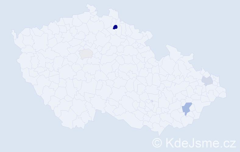 Příjmení: 'Ikáš', počet výskytů 4 v celé ČR