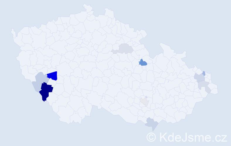 Příjmení: 'Časková', počet výskytů 18 v celé ČR