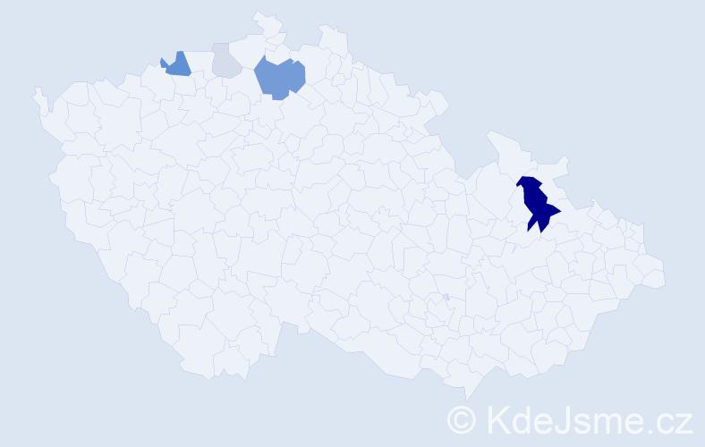 Příjmení: 'Konfal', počet výskytů 15 v celé ČR