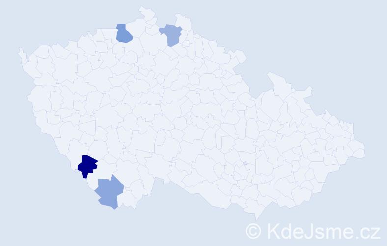 Příjmení: 'Ľach', počet výskytů 8 v celé ČR