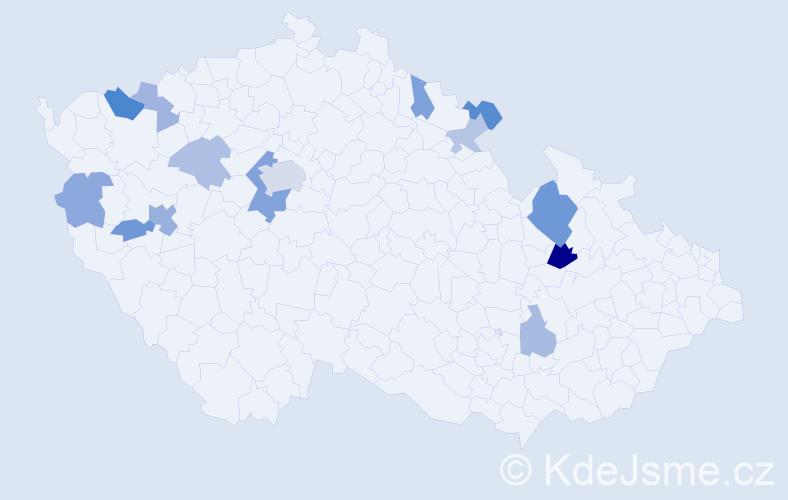 Příjmení: 'Hrivnák', počet výskytů 27 v celé ČR