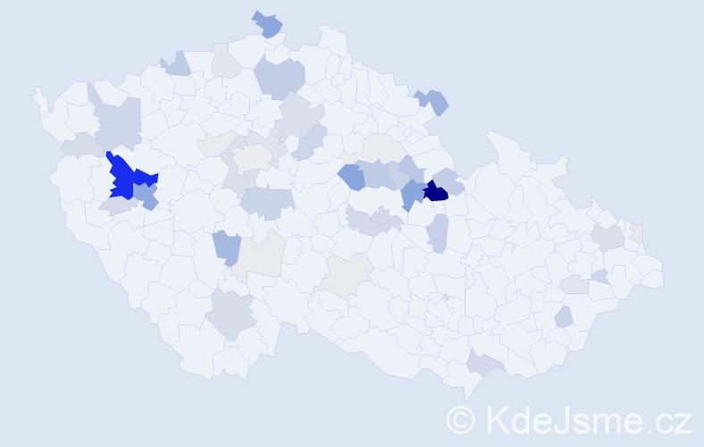Příjmení: 'Kristl', počet výskytů 154 v celé ČR