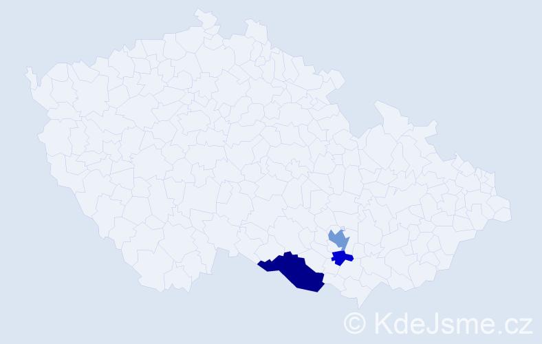 Příjmení: 'Čočkrlová', počet výskytů 7 v celé ČR