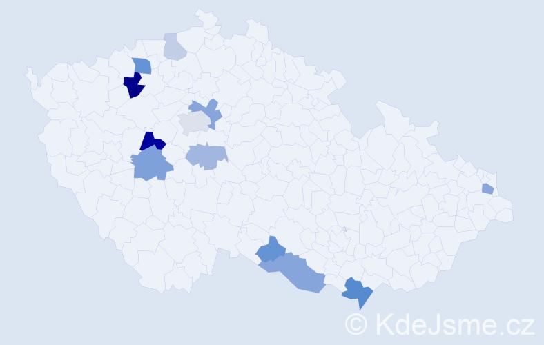 Příjmení: 'Fungáč', počet výskytů 26 v celé ČR
